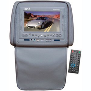 PYLE PLD72GR Adjustable Headrests w/ Built-In 7'' TFT/LCD Monitor w/ Built in DVD Player & IR/FM Transmitter With Cover (Gray)