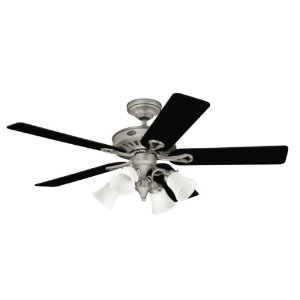 Hunter 20345 Westbury 54-Inch 5-Blade Ceiling Fan with Black/Light Cherry Blades, Antique Pewter