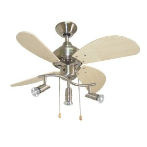 Litex TR30BC4LK3 TR-3000 30-Inch Remote Control Adaptable Four-Blade Ceiling Fan, Brushed Chrome with Spotlight Kit