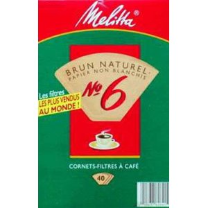 Melitta 626412 40 Count #6 Natural Brown Cone Coffee Filters