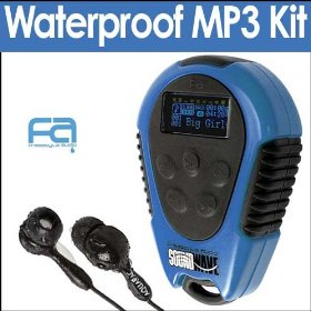 Freestyle Audio 200SPT Soundwave Waterproof 2GB Blue MP3 Player Blue Bundle With Aquapac 916 Waterproof Headphones