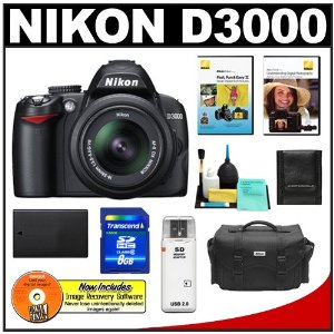 Nikon D3000 10MP Digital SLR Camera with 18-55mm f/3.5-5.6G AF-S DX VR Nikkor Zoom Lens with 8GB Card + EN-EL9a Battery + Nikon Gadget Bag + Nikon School DVDs + Accessory Kit