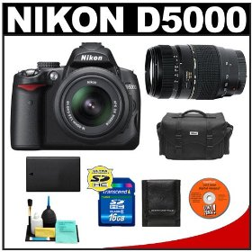 Nikon D5000 Digital SLR Camera with 18-55mm VR Lens, Tamron 70-300mm Zoom, 16 GB Memory Card, Spare EN-EL9 Battery, Case, Cameta Bonus Accessory Kit