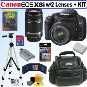 Canon Digital Rebel XSi 12MP Digital SLR Camera (Black) with 8 GB Deluxe Accessory Kit