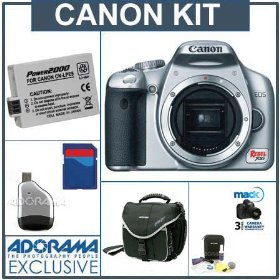 Canon EOS Digital Rebel XSi SLR Camera Kit, Silver with 4 GB SD Memory Card, Spare LP-E5 Lithium-Ion Rechargeable Battery, Slinger Camera Bag, Mack 3 Year Extended Warranty, USB 2.0 SD Card Reader, Professional Lens Cleaning Kit