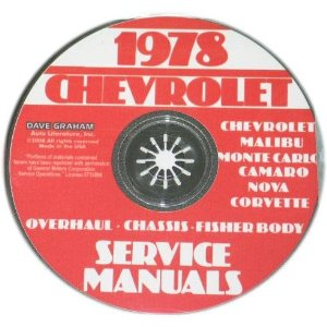 1978 Corvette Shop and Service Manual on CD