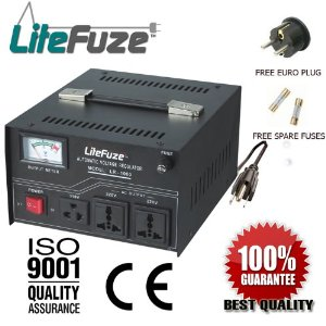 LiteFuze VT 1000 Watt Heavy Duty Voltage Converter Transformer - Step Up/Down 110/120/220/240V - Fully Grounded Cord (Free Euro Plug) - Patented Universal Output Socket