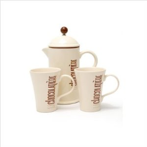 LaCafetiere La Chocolatiere 8 Cup Chocolate Drink Maker Gift Set , 1 Pot and 2 Mugs, Cream