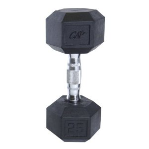 Cap Barbell Rubber Coated Hex Dumbbell with Contoured Chrome Handle (25-Pound)