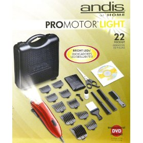 Andis Pro Motor Light 22 piece Home Hair Cutting / Styling Kit with Lighted Clipper and Instructional DVD (Model# 23115)