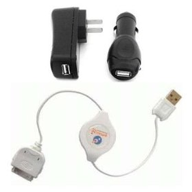Apple iPod Nano (1st & 2nd) Video Photo Mini U3 4G Shuffle 4-In-1 USB Travel Charger Kit