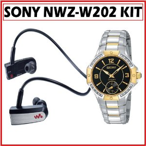 Sony NWZ-W202BLK Headphone-Style Walkman MP3 Player + Seiko SRKZ90 Ladies's Coutura Diamond Sub-Dial Watch