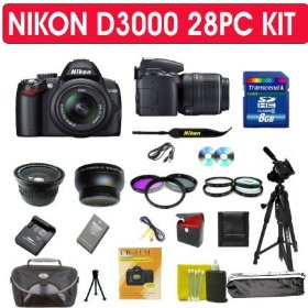 Nikon D3000 SLR Digital Camera 28pcs KIT with Nikon 18-55mm Vr Lens