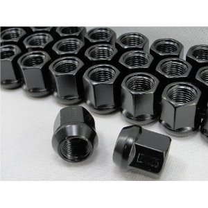 Black Open End Bulge Acorn Lug Nuts 3/4