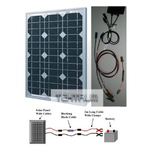 Tektrum 30w Solar Panel/Blocking Diode Cable/2m long Cable and Clamps Battery Charger Kit for RV, Home, Boat, Pool