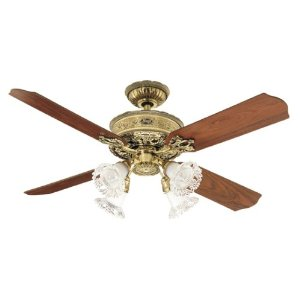 Hunter 23710 1896 Art Noveau Four-Light 52-Inch Four  Blade Ceiling Fan, Burnished Brass with Clear Globes