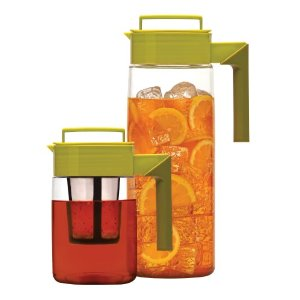 Takeya 2-Piece Flash Chill Iced Tea Maker Set with Silicone Handles, Avocado/Olive, 66-Ounce and 25-Ounce