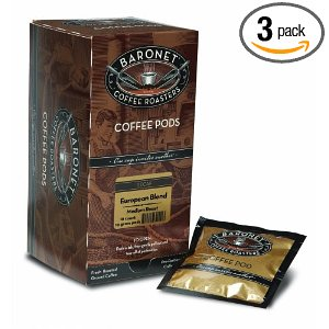Baronet Coffee Decaf European Blend Medium Roast, 18-Count Coffee Pods (Pack of 3)