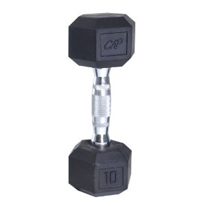 Cap Barbell Rubber Coated Hex Dumbbell with Contoured Chrome Handle (10-Pound)