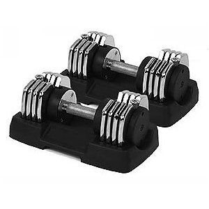 Two (2) 50 lb. Bayou Chrome Adjustable Dumbbells