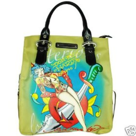 ED HARDY #DTKEL3100 KELLY NORTH SOUTH TOTE BAG KHAKI