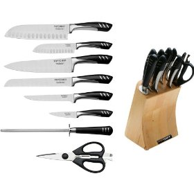 Top chef tc04 knife 9 piece full set with wooden block