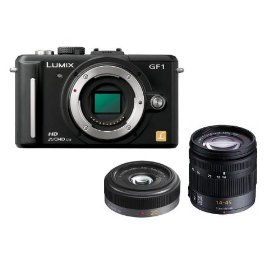 Panasonic Lumix DMC-GF1 Kit 12.1MP Micro Four-Thirds Interchangeable Lens Digital Camera with 14-45mm and G 20mm f/1.7 Aspherical Pancake Lens + WSP Deluxe Camera Tripod.