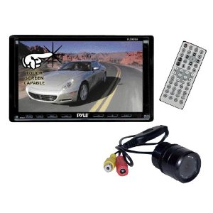 Pyle DVD/Camera Package for Car/Truck/SUV -- PLDN70U 7-Inch Double-DIN Motorized TFT Touchscreen Receiver with DVD/VCD/CD/MP3/MP4/CD-R/USB/SD-MMC Card Slot/AM/FM + PLCM22IR Flush Mount Rear View Camera with 0 Lux Night Vision