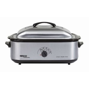 Nesco 4808-25PR 18-Quart Roaster Oven with Porcelain Cookwell, Stainless