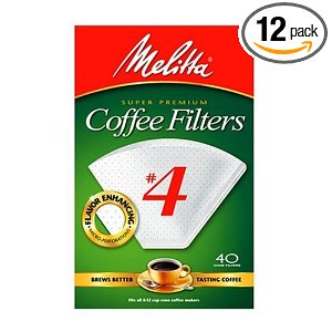 Melitta Cone Coffee Filters, White, No. 4, 40-Count Filters (Pack of 12)