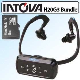 Intova H2O Man Waterproof MP3 Player Headphones Bundle With SanDisk 8GB Micro SDHC Memory Card