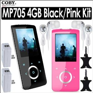 Coby MP705-4G 4GB Slim MP3 FM MP4 Player Pink & Black Bundle With 2 Coby CVE92 Super Bass Digital Stereo Earphones, 2 Coby CA81 Dual USB AC Adapter Charger & 2 Nite Ize Curvyman Cord Supervisor Organizer
