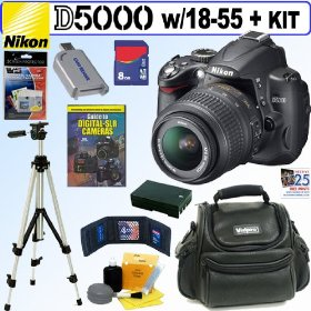 Nikon D5000 12.3 MP DX Digital SLR Camera with 18-55mm f/3.5-5.6G AF-S DX VR Nikkor Zoom Lens + 8GB Deluxe Accessory Kit
