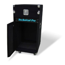 Brand New Top of the Line Technical Pro Rk-16u 16u Rack Mount Dj Road Case with 16 Rack Amp Spaces + a Top Loaded 10u Mixer Casing