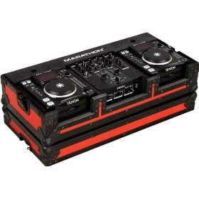 Marathon Flight Ready MA-Dnsx1200Blkred Red - Black Series - Coffin Holds 2X Small Format CD Players + 10-Inch Mixers