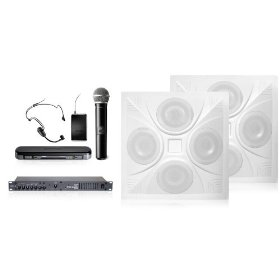 Wireless Conference Room Sound System 2 Ceiling Speakers, Mixer Amp, Shure Wireless Dual Headset/Handheld Microphone System