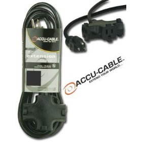 Accu Cable EC163-3FER10 Black 16 Gauge 3 Plug 10 Ft Extension Cable