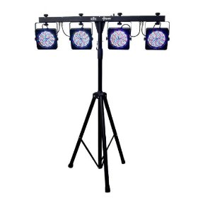 Brand New Chauvet 4bar 15 Channel Packaged Wash Light System with Rgb Controls of 4 Lights + Includes Travel Bags + Tripod Stand + Footswitch Controller