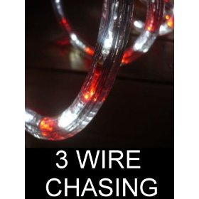 50Ft Rope Lights; 3wires vivid red and pure white chasing LED Rope Light Kit; Christmas Lighting; outdoor rope lighting