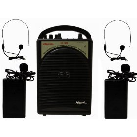 Hisonic HS122B-L2 40-Watt Rechargeable & Portable PA System with Built-in Dual Wireless Microphones, BLACK
