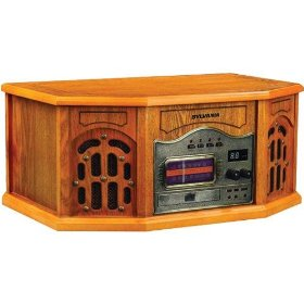 Sylvania SRCD823 Nostalgic Turntable/CD/Radio - Wood Cabinet