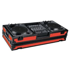Marathon Flight Ready MA-DJ12Wblkred Battle Red Black Series Coffin Holds 2 Turntables with 10-Inch Mixer with Low Profile Wheels