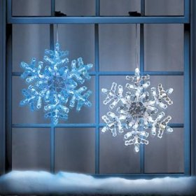 Ice-Look LED Lighted Snowflake, BLUE