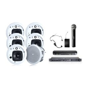 Wireless Conference Room Sound System 6 Ceiling Speakers, Mixer Amp, Shure Wireless Dual Headset/Handheld Microphone System
