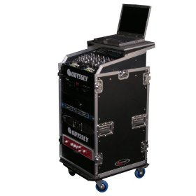 Odyssey FZGS1116W Flight Zone Glide Style Combo Case With Wheels: 11u Top Slant, 16u Vertical