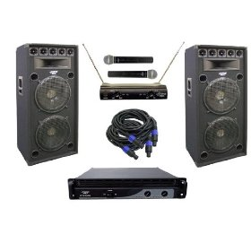 PylePro - 2400 Watt Complete DJ Stage Speaker System - Dual 15'' Eight-Way Amp/MIC's/Cables