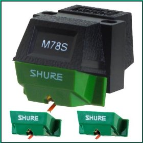 Shure M78S Wide Groove Monophonic Cartridge w/ 2 Shure N78S Replacement Needles