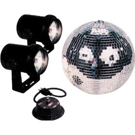 American DJ  M-502L 12 Inch Mirror Ball Kit With Motor 2 Pinspots And Gels