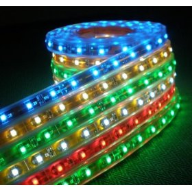 12V SMD5050 LED Tri-chip Horizontal Ribbon Flexible LED Strip Light 5M/16Ft Waterproof - RGB Color Changing with Remote Control