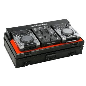 Marathon Flight Ready Case MA-CDJ10V2Blk Black Series - Coffin Holds 2X Small Format CD Players: Pioneer CDJ-400 + 10-Inch Mixer: Pioneer DJm400